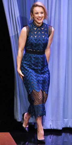 Rachel McAdams in a black-and-teal sheer-paneled dress.