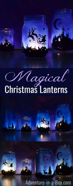 Magical Christmas Lanterns from Mason Jars: DIY tutorial on how to decorate mason jars with silhouette cutouts and turn them into beautiful winter luminaries.