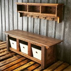 Reclaimed Barnwood Three Cubby Bench & Shelf by EchoPeakDesign Wood Pallet Tables, Pallet Furniture, Rustic Furniture, Wood Pallets, Modern Furniture, Pallet Wood, Handmade Furniture, Cheap Furniture, Pallet Seating