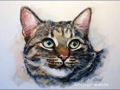(519) Cat Watercolor portrait REAL TIME painting demo by Ch.Karron - YouTube