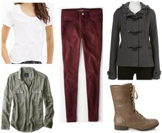 Movie Inspiration: If I Stay - College Fashion College Girl Fashion, Light Pink Cardigan, Maroon Jacket, Movie Inspired Outfits, Cute Fall Outfits, Autumn Outfits, If I Stay, Ripped Skinny Jeans, Everyday Look