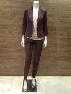 "Studio collection rich chocolate cotton pants suit | The jacket: ¾ sleeve with turn up & top stitch finish | The pants: Narrow leg & two pocket pants with top stitch finish | The blouse: Luxurious blush colour crossover short sleeve draped cupro blouse | MaxMara ""Filly"" nude patent leather peep toe shoe.  Prices on request."