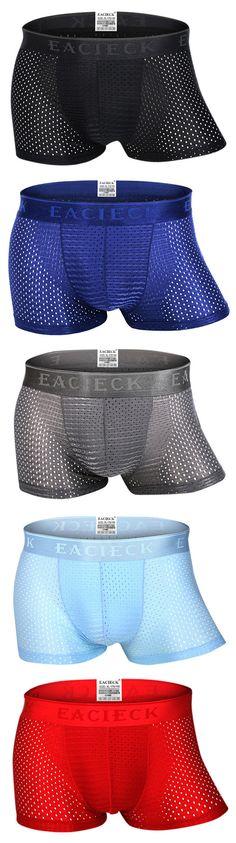Breathable Ice Silk Sexy Mesh Thin U Convex Boxer Briefs for Men