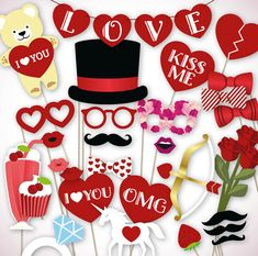 Valentines photo booth props: printable PDF file for by HatAcrobat