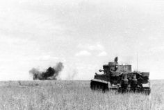 A Waffen SS Tiger 1 in action at Kursk in July 1943.