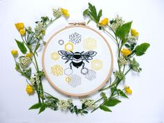 Beginner Embroidery Kit - Bee and Honeycomb . A sweet homage to the noble Bee AND the perfect place to practise the 6 most basic and commonly used embroidery stitches.
