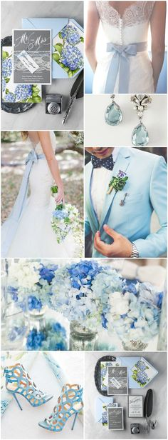 Blue Wedding Inspiration with hydrangea wedding invitation from 4lovepolkadots #weddingpalette #weddingcolors #inspiration #blue #flowers #weddingcolors2017
