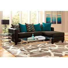 $999.99 2-piece Charcoal Black Chenille Reversible Chaise Sectional - Overstock™ Shopping - Big Discounts on Sectional Sofas