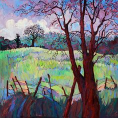 Lavender Grass Paso Robles Landscape Original Oil Painting by Erin Hanson 48x48 via Etsy.