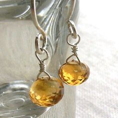 Citrine Earrings in Sterling Silver  Faceted by DelicateAdornments, $19.00