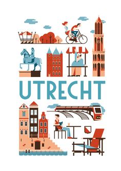 journal ideas nederlands on Utrecht 100 % Utrecht, Rotterdam, Holland Netherlands, Vintage Travel Posters, Grafik Design, Cute Illustration, Illustrations Posters, Dutch, Doodles