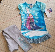 Disney Frozen Outfit NWT Anna Elsa Top Leggings Blue Grey girls sz 6 #Disney #DressyEverydayHoliday