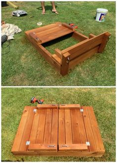 Sandbox with Bench Cover-DIY Sandbox Projects (Video) The convertible with built in cover converts to benches for kids seating. - April 27 2019 at Pallet Sandbox, Kids Sandbox, Sandbox Diy, Sandbox Cover, Backyard Play, Backyard For Kids, Diy For Kids, Outdoor Play, Backyard Games