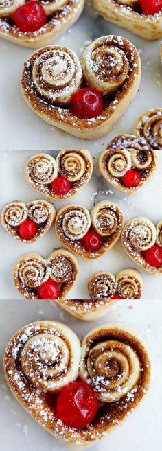 Heart-Shaped Cinnamon Rolls – the cutest and best cinnamon rolls ever, made into heart shape and stuffed with red cherries. So adorable | rasamalaysia.com