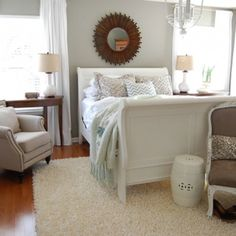 Paint our bed?? Martha Stewart Flagstone paint, white sleigh bed