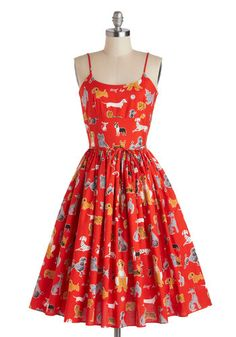 Graceful Greenery Dress in Dog Park by Bernie Dexter - Red, Print with Animals, Casual, Spaghetti Straps, Summer, Long, Cotton, Multi, Pockets, Belted, Fit & Flare, Scoop