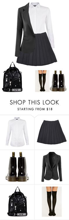 """""""My uniform for school"""" by dj1direction ❤ liked on Polyvore featuring Dr. Martens, LE3NO and Moschino"""