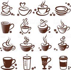 """Uma xícara de café """"royalty free vetor branco, vector Conjunto de ícones vetor e ilustração royalty-free royalty-free"""