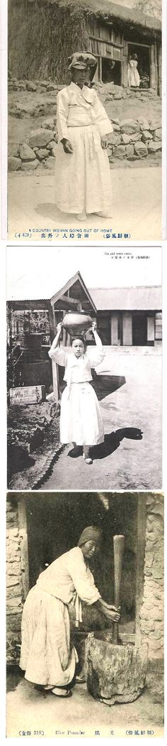 """Japanese-made postcards, from top: 429 """"A country woman going out of home""""/""""The girl water carry""""/218 """"Rice pounder [pounder]"""""""