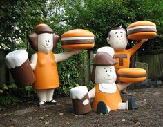 Vintage roadside A & W Rootbeer figurines: Mama Burger, Teen Burger, and Baby Burger.(These guys live in the backyard of the folks who run Vintage Roadside, a store that recreates graphics from businesses that were around during the A&w Burger, Burgers, A&w Restaurants, A&w Root Beer, Food Gallery, Vintage Restaurant, Roadside Attractions, Retro Recipes, Food Places