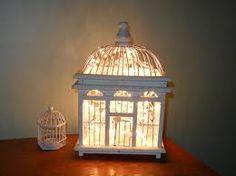 Fairy lights in birdcage. Possible nursery night light