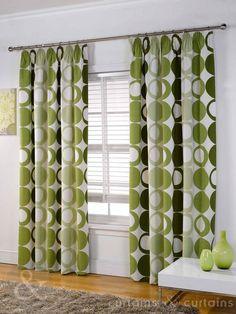 Halo Panama Green Pencil Pleat Curtain - Curtains UK