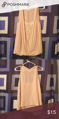 Cream Colored Sequin Blouse  Excellent condition. No defects. No missing sequin. Comes from a  free home Mystree Tops Tank Tops