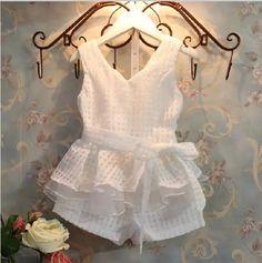 Bosudhsou V1 nuevo envío gratuito venta al por menor niñas ropa de niños de moda de verano chalecos conjunto traje 2 ~ 6 años de edad los niños ropa