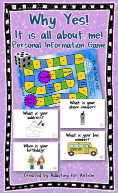 Personal information game for kids - this game is perfect for students with autism and special education classrooms where teaching personal information is so important.  Includes printable teacher key, question cards and visual support cards.