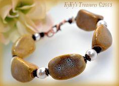 Distressed Honey Porcelain & Copper Bracelet w/Swarovski Crystals and Pearls, Porcelain Bracelet, Porcelain Jewelry, Swarovski Pearls #ooak #giftforher