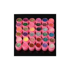 36Pcs Mix Colors Shining Glitter Acrylic UV Gel Builder Polish Set ($15) ❤ liked on Polyvore featuring beauty products, nail care, nail polish, nail gel & polish, white and gel nail care