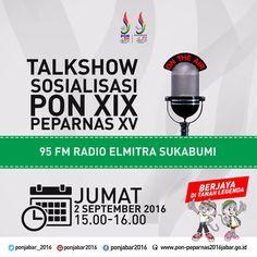 Selamat siang baraya, jam 3 sore jangan lupa pantengin Radio Elmitra 95 FM ya! :) #PONPeparnasJabar2016