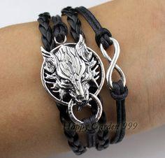 Wolf bracelet infinity braceletblack wax cords by happygarden999, $4.99