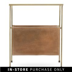 magazine rack side table leather and brass plated