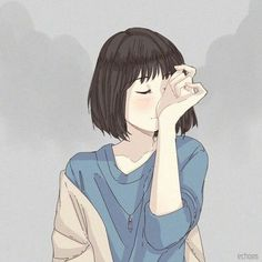 Find images and videos about cute, art and anime on We Heart It - the app to get lost in what you love. Cartoon Art Styles, Cartoon Drawings, Cute Drawings, Anime Girl Cute, Anime Art Girl, Aesthetic Art, Aesthetic Anime, Sad Art, Digital Art Girl