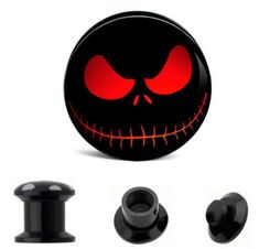 This is for a PAIR black acrylic plugs. The plugs have a red Jack Skellington Face design. Industrial Piercing Jewelry, Industrial Earrings, Eyebrow Jewelry, Body Jewelry, Jewlery, Ear Tunnels, Tunnels And Plugs, Jack Skellington Faces, Jack Nightmare Before Christmas