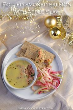 This quick, stylish recipe for potted hot smoked salmon with quick pickle apple slaw will impress your guests and can be made in advance. Coriander Cilantro, Coriander Seeds, Pickled Apples, Smoked Salmon Recipes, Apple Slaw, Pickles, Yummy Food, Yummy Recipes