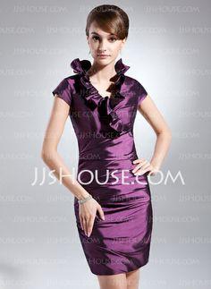 Cocktail Dresses - $96.99 - Sheath V-neck Knee-Length Taffeta Cocktail Dress With Ruffle (016008268) http://jjshouse.com/Sheath-V-Neck-Knee-Length-Taffeta-Cocktail-Dress-With-Ruffle-016008268-g8268