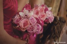 Northern Greenhouses #wedding White cymbiudium and blush pink, lavender and hot fuschia rose bouquets - Bridesmaids bouquets