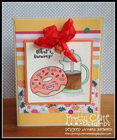 Creative Love Affair: Pretty Cute Stamps February Challenge - Add Ribbon using Donut Worry & Coffee Faces stamps!