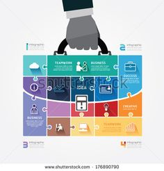 infographic Template with businessman hand hold business bag jigsaw banner . concept vector illustration