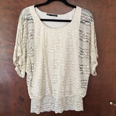 Lace dolman sleeve very flattering top. Ivory Lacey dolman, so dang cute but a little snug on me after my son. Finally ready for it to make someone else feel amazing  Maurices Tops Blouses