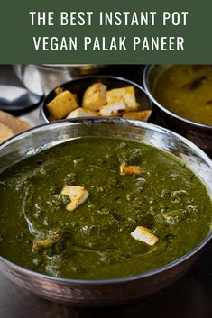The best Vegan Palak Paneer - Dairy free, delicious and healthy palak paneer recipe made with spinach, onion, tomatoes and aromatic spices! This vegan curry is the perfect accompaniment with rice, bread or rotis..! #instantpotrecipes #veganrecipes #vegancurry #veganindianfood #indianrecipes #tofurecipes #healthyrecipes #palakpaneer #indianfood | cookingwithpree.com