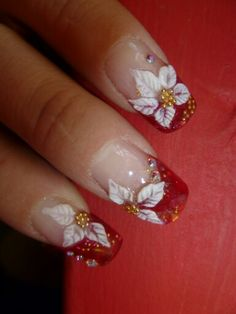 Uñas navideñas Flower Nail Designs, Nail Art Designs, Holiday Nails, Christmas Nails, Christmas Nail Designs, Flower Nails, Cool Nail Art, My Nails, Hair Beauty