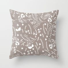 Winter Cotton - Grey Throw Pillow  Love the colors and pattern!
