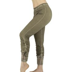 Khaki brown shabby chic legging with lace at back, boho legging, gipsy lace legging, Mori girl, victorian, western, steampunk, bloomers