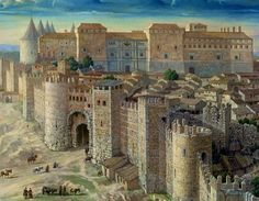 Imaginay view of the Royal Alcazar of Madrid in century with medieval walls and Vega Gate in the foreground Best Hotels In Madrid, Madrid Travel, Foto Madrid, Toledo Spain, Fantasy Castle, Fantasy Places, Spain And Portugal, Medieval Castle, City Maps