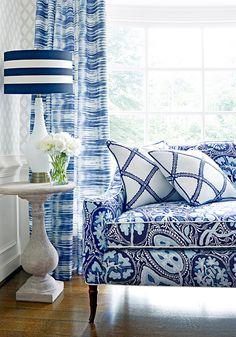 BLUE ikat curtains THIBAUT curtains charcoal curtain panels blue and white ikat drapes shibori curta Blue And White Living Room, Blue And White Fabric, Blue Rooms, White Rooms, White Decor, Interior Design Inspiration, Family Room, Cottage, Room Decor