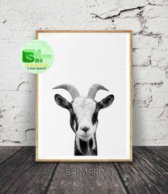 Goat Print, Nursery Farm Animal Wall Art, Black and White Printable Photo, Digital Download, Large Poster, Modern Minimalist, Grey Decor by SiriiMirri on Etsy