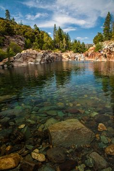 Emerald Pools of Upper North Fork Yuba River, between Sacramento Valley and the foothills of the Sierra Nevada